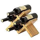 Estante de Vino, para 4 botellas, Estante de exhibición de Almacenamiento de Vino rústico de Madera, para decoración de Cocina, Comedor, Bar/A