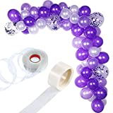 Tatuo 112 Pieces Balloon Garland Kit Balloon Arch Garland for Wedding Birthday Party Decorations (White Purple)