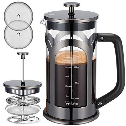 Veken French Press Coffee & Tea Maker, 304 Stainless Steel Heat Resistant Borosilicate Glass Coffee Press with 4 Filter Screens, Durable Easy Clean 100% BPA Free, 34oz, Grey