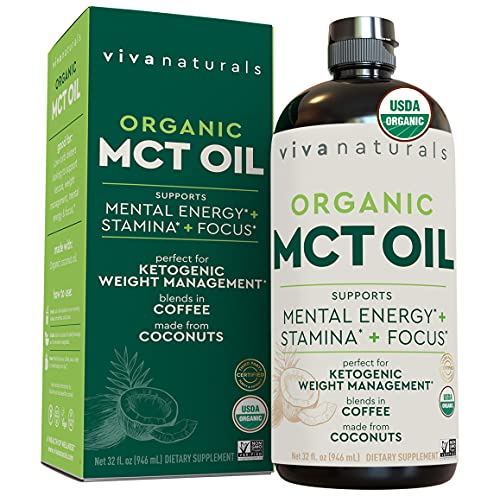 Organic MCT Oil for Keto Coffee (32 fl oz)   Best MCT Oil Keto Supplement to Support Energy and Mental Clarity, USDA Organic, Non-GMO and Paleo & Keto Diet Certified