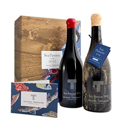 Duet Sea Passion Nº 6 - Pack de Vino Submarino + Vino Terrestre para cata comparada - Crusoe Treasure