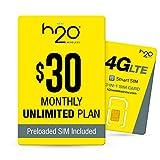 H2O Wireless $30 Plan SIM Starter Kit | 6 GB of LTE Data + International Talk & Text, Yellow (H2O-30 SIM BUNDLE)