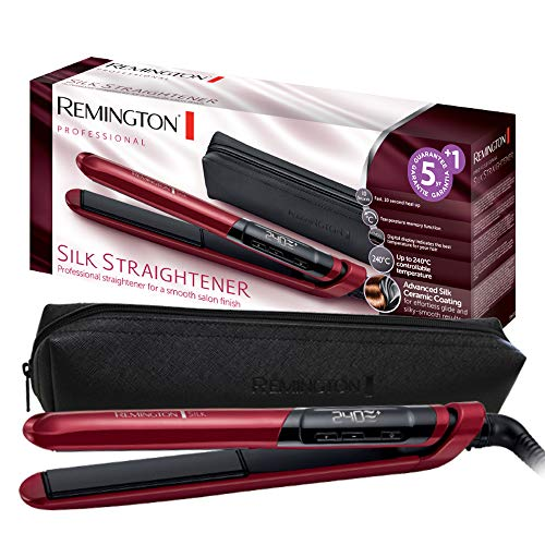 Remington Silk S9600 - Plancha de Pelo, Cerámica, Digital, Placas Flo