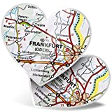 Impresionante 2 pegatinas de corazón de 7,5 cm – Frankfurt Alemania mapa de viajes de ciudad divertido calcomanías para portátiles, tabletas, equipaje, libros de chatarra, frigorífico, regalo genial #45066