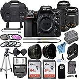 Nikon D7500 20.9MP DSLR Digital Camera w/AF-P DX NIKKOR 18-55mm f/3.5-5.6G VR Lens & AF-P DX 70-300mm f/4.5-6.3G ED Lens + 2 Pcs SanDisk 64GB Memory Card + Accessory Bundle (Black)