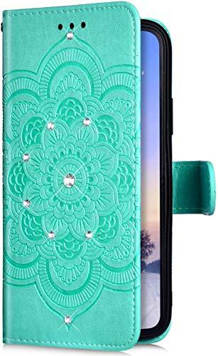 Uposao Kompatibel mit Samsung Galaxy A10S Handyhülle Mandala Blumen Muster Diamant Bling Glitzer Strass Schutzhülle Flip Wallet Bookstyle Klapphülle Leder Hülle Magnet Kartenfächer,Grün