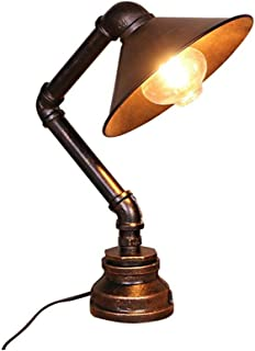 XIAOTIAN Vintage Retro Table Lamp, Green Bronze Water Pipe, Wrought Iron Desk, Small Table Lamp, Suitable for Cafe Bar (Size : UK)