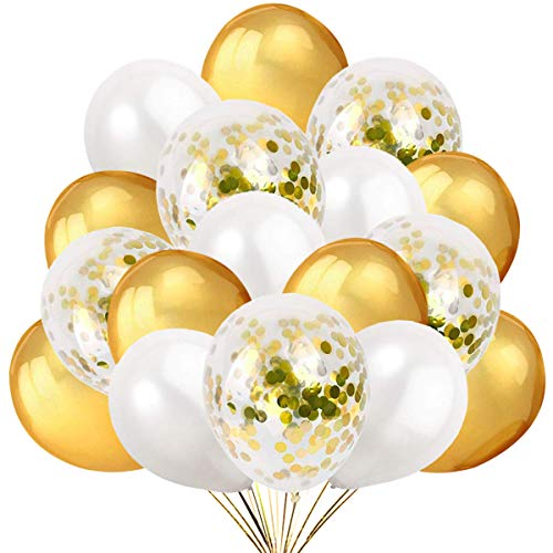 50 Palloncini Oro Bianco e Confetti Balloon, 40 Palloncini Classici e 10 Palloncini di Coriandoli Dorati. Decorazioni e Accessori per Feste di Compleanno e Capodanno