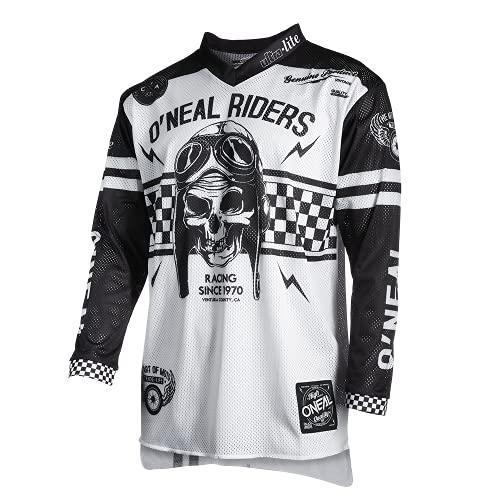 O'Neal | Maillot de Motocicleta | Enduro Motocross | Materiales Ligeros y duraderos, Agujeros de ventilación Cortados con láser | Maillot Ultra Lite 70 | Adultos | Blanco Negro | Talla L