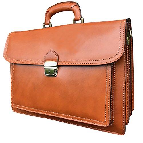 Designer-Aktentasche / Laptoptasche aus Leder, Handarbeit aus Italien – ca. 40,6cm, auch zum Umhängen
