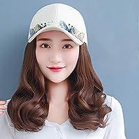 帽子ウィッグ,ウィッグ付き ヘア帽子,キャップ かつら 帽子,短い巻き毛の白い蝶の野球帽、取り外し可能、非常に実用的、3つの髪の色があります(長さ約35m)自然 便利 日焼け防止 紫外線対策 日常用 旅行用 医療用…