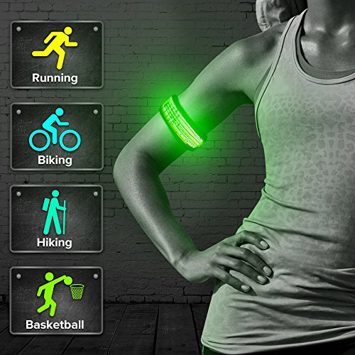 BSEEN LED Armband, Flashing Party Favor Glow Slap Bracelet, Light up Sports Arm Bands for Running, Cycling, Jogging, Hiking, Dog Walking(Green-Design III-Logo)