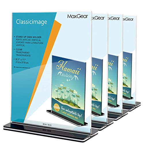 MaxGear Acrylic Sign Holder 8.5 x 11 - Acrylic T Shape Table Top Display Stand, Double Sided, Bottom Load, Portrait Style Menu Ad Frame. Perfect for Restaurants, Office, Photo Frames, Store (4 Pack)