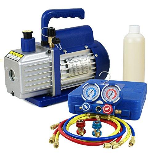 F2C 3.5CFM 1/4HP HVAC Air Vacuum Pump Kit with/ AC Refrigeration Gauge