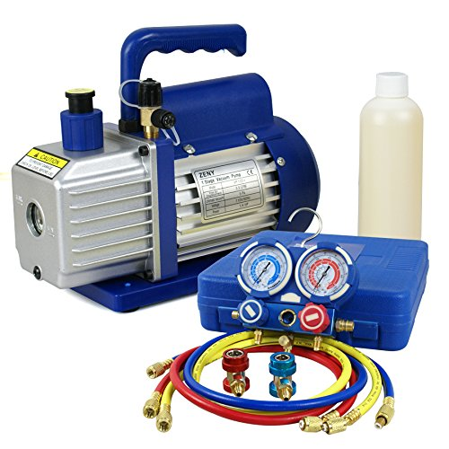 F2C 3.5CFM 1/4HP HVAC Air Vacuum Pump Kit with/AC Refrigeration Gauge