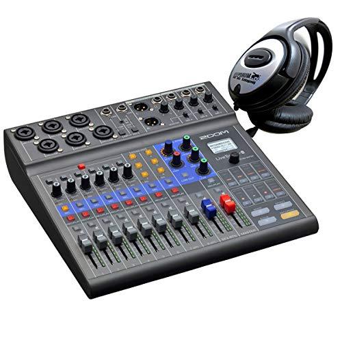 Zoom LiveTrak L-8 Podcast-Mixer Mischpult mit Interface+keepdrum Kopfhörer