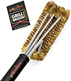 Grillaholics Essentials Brass Grill Brush - Softer Brass Bristle Wire Grill Brush for Safely...