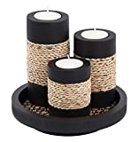 IYARA CRAFT Tealight Candle Holders with Candle Tray Set of 3 Decorative Candle Holders Matte Wood Finish with Small Rope Decoration