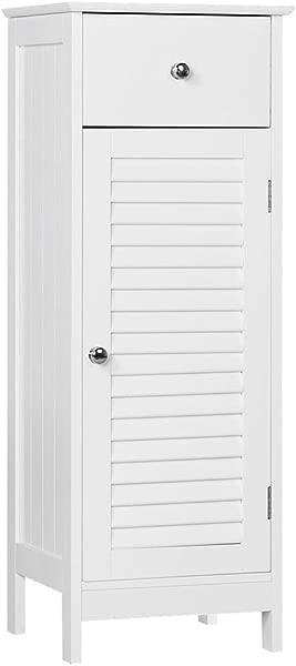 Yaheetech 浴室地板收纳柜独立式侧边收纳整理柜带抽屉和单卷帘门白色