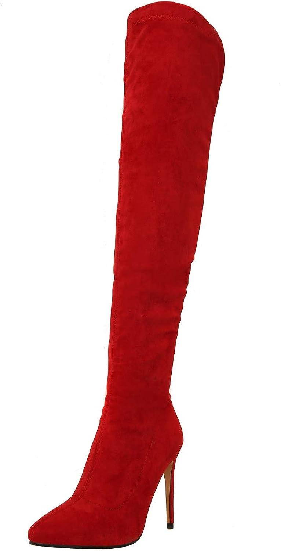 AdeeSu Womens Spikes Stilettos Heighten Inside Imitated Suede Boots SXC03777