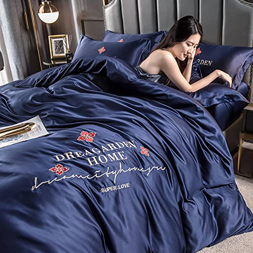 bettwäsche 155 x 220 baumwolle,Agua de verano lavado de seda de seda de seda colcha conjunto de ropa de cama de cuatro piezas-Volar_Cama de 2.0m (4 piezas) - Adecuado para el núcleo de 220x240cm