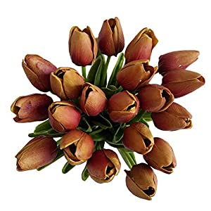 Silk Flower Arrangements 20 Heads Jujube Red PU Artificial Tulip Flower Bouquet Real Touch Flowers Fake Tulips Wedding Flowers Arrangement Home Room Wedding Party Decor