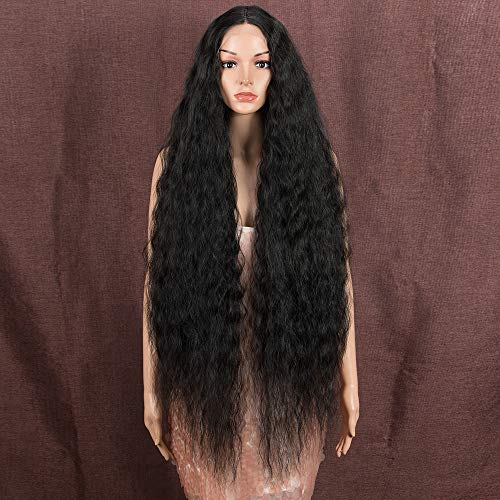 """Style Icon 41"""" Long Wavy Synthetic Wigs Simulated Scalp Lace Front Wigs with Baby Hair Half Hand Tied 130% Density Wigs (1.5""""4"""" Simulated Scalp, 1B)"""