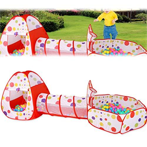 HXXXIN Tienda Y Túnel para Piscina De Bolas para Niños, Tienda De Juegos para Gimnasia En La Jungla para Niños Pequeños, con Juguetes De Túnel para Gatear, Adecuada para Niños Y Bebés,Rojo
