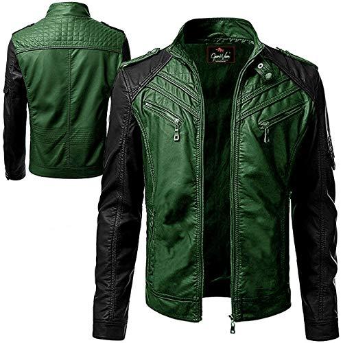 Gearswears Chaqueta de cuero para hombre, estilo retro, para ciclistas y motociclistas pesadas, hecha con 100% piel de oveja auténtica en color verde y negro para un aspecto clásico vintage