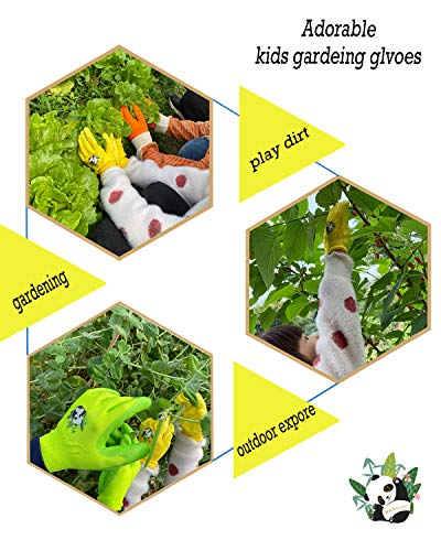 HANDLANDY Kids Gardening Gloves for Age 2-13, 3 Pairs Nitrile Coated Toddler Garden Gloves for Childrens Little Girls Boys Youth (Size 2(for age 2-4))