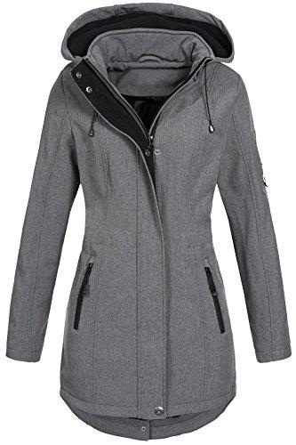 Top Fuel Fashion Damen Softshelljacke Ivana Funktions Kurzmantel abnehmbare Kapuze wasserabweisend Silver Melange XXL