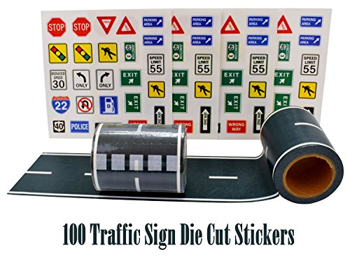 """Fun Road Tape for Car Toys, 2 Rolls of 33'x2.4"""", Bonus 100 Die Cut Traffic Sign Stickers for Playing and Learning, Perfect to Keep Your Kids Away from Screens, Develop Their Imagination and Memory"""