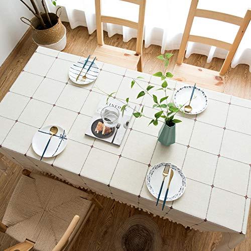 WJPL Elegante Home Mantel antimanchas moderno elegante lino con motivo de flecos, mantel rectangular redondo para la decoración de mesa de la cocina (140 x 140) HS-836