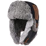 Winter Bomber Hat for Men Hunting Ushanka Russian Warm Trapper Bomber Hunting Hiking Skiing Cap Black Real Fur Large L