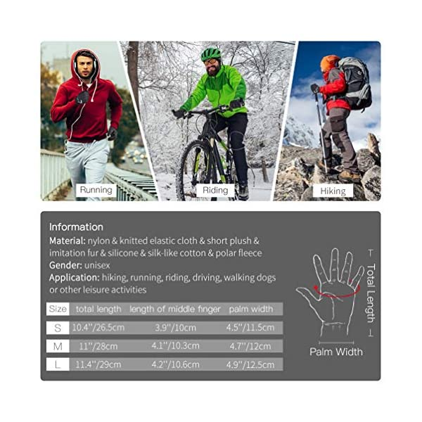 VBIGER Mens Winter Gloves Running Cycling Gloves Touch Screen Gloves with Reflective Strips and Anti-slip Silicon, Black