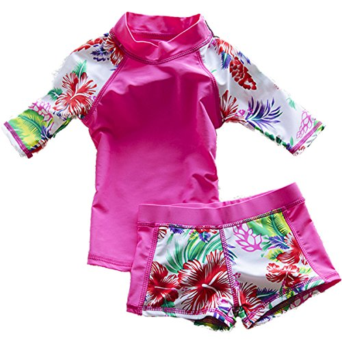 Baby Girls Kids Toddler Two Piece Round-Neck Rash Guard UV Sun Protection Swimsuit (2-3 Years, Rose)