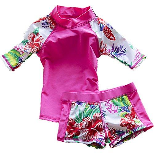 Baby//Toddler Girls UPF 50 Sun Protection Rashguard Short Sleeve Two Piece Swimsuit FBA