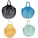 Wiederverwendbare Netz-Einkaufstasche, 4 Stück, Baumwolle, waschbar,...