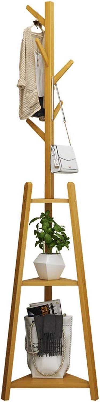 Solid Wood Hanger Floor Bedroom Hanger Simple Clothes Shelf Home Multi-Function Mobile Bag Coat Rack