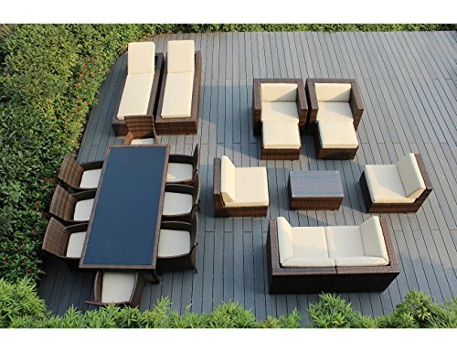 Hot Sale Ohana Collection PNC2005AMB 20-Piece Outdoor Sectional Sofa, Dining and Chaise Lounge Wicker Patio Furniture Set, Mixed Brown