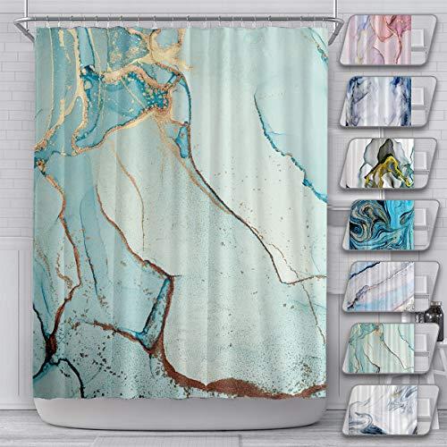 LEMOISTARS Marmor-Duschvorhang für Badezimmer mit 12 Haken, Polyestergewebe, schwere Beschwerung, maschinenwaschbar, 183 x 183 cm