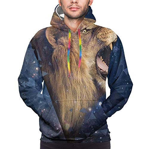 Sudadera con capucha para niños y hombres, con cordón, con capucha, para deportes, exteriores, espacio exterior, diseño de león