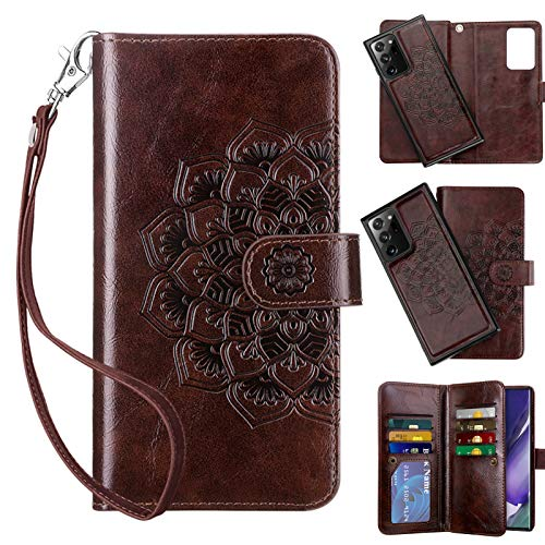 Vofolen for Galaxy Note 20 Ultra 5G Case 2-in1 Wallet Cover Magnetic Detachable Folio PU Leather Flip Card Holder Slot Strap Protective Slim Hard Shell for Samsung Note 20 Ultra 6.9 Mandala Brown