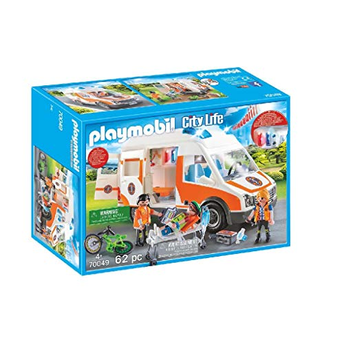 PLAYMOBIL City Life Ambulancia con Luces y Sonido, A partir