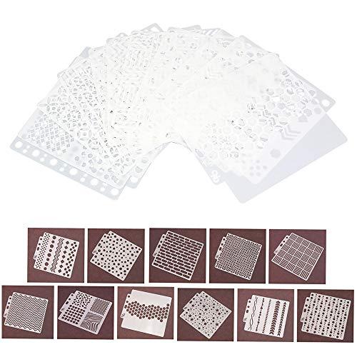 CODIRATO 11 Pezzi Stencil Disegno Plastica Stampini Modelli Riutilizzabili per Scrapbooking, Journal, Diario, Scrittura, Creazioni Artigianali(14 * 13cm)