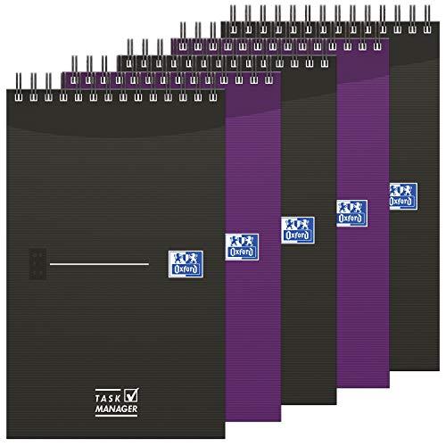 OXFORD Lot de 5 Bloc-Notes Task Manager 12,5x20cm 140 Pages Ligné 8mm Reliure Spirale Couverture Carte Coloris Assortis