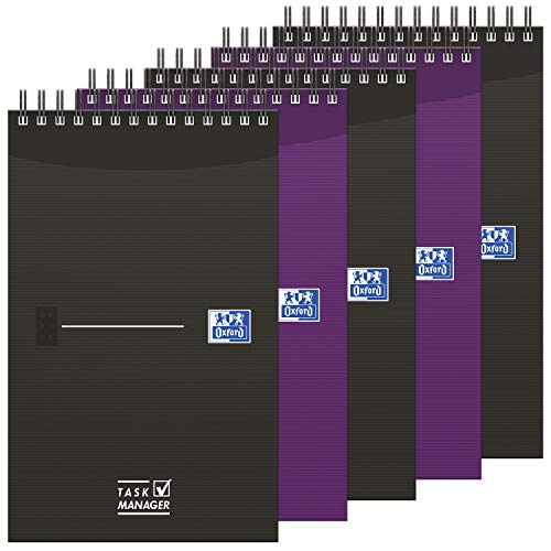 OXFORD Lot de 5 Bloc-Notes Task Manager 12,5x20cm 140 Pages Ligné 8mm Reliure Spirale Couverture Carte Coloris Assortis