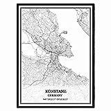 Konstanz Deutschland Karte Wandkunst Leinwand drucken