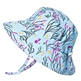 Jan & Jul Girls Summer Aqua-Dry Swim Sun Hats 50 UPF, Adjustable Foldable Packable (XL: 5-12Y, Spring Flower)