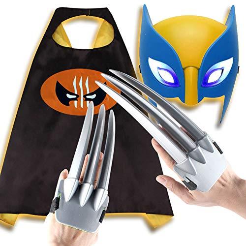 WEW 1 Paio di Bambini Giocattoli da 10,24 Pollici in plastica ABS sicura Wolverine Claws Puntelli per Cosplay di Film Mantello + Maschera Applicare al Costume di Halloween Masquerade (Set da 3 Pezzi)